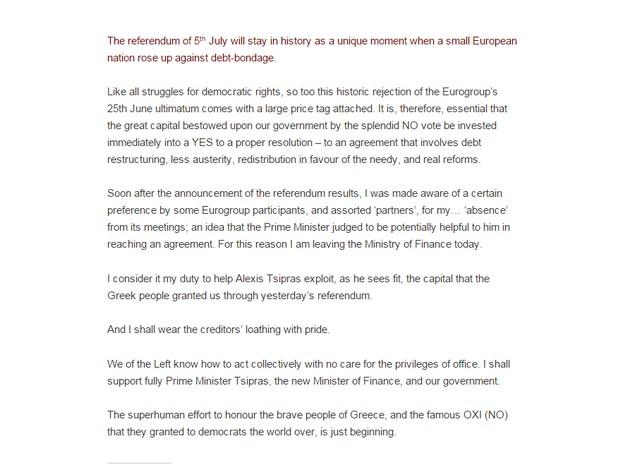 Em seu blog, o Ministro das Finanças grego, Yanis Varoufakis, anunciou sua renúncia do governo. (Foto: Reprodução/yanisvaroufakis.eu)