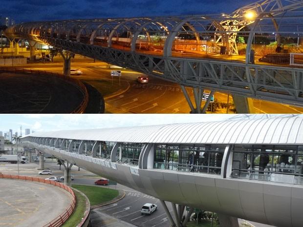 Passarela Aeroporto - Metrô custou R$ 26 milhões e tem esteiras rolantes ligando a estação ao primeiro andar do aeroporto.  (Foto: Luna Markman e Vitor Tavares/G1)