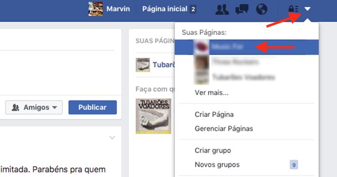 Acessando como administrador uma página do Facebook (Foto: Reprodução/Marvin Costa)