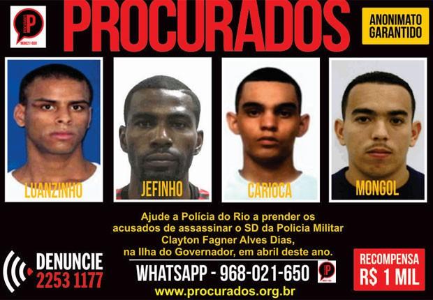 Portal dos Procurados divulga cartaz de criminosos de Manguinhos (Foto: Divulgação)