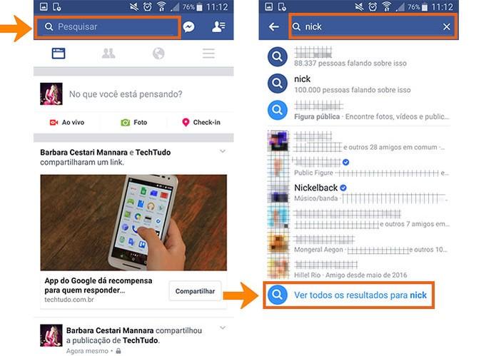 Faça a busca pela pessoa no app do Facebook para celular (Foto: Reprodução/Barbara Mannara)