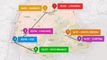 Veja o mapa com o trajeto da tocha olímpica pelo Paraná (Arte/RPC)