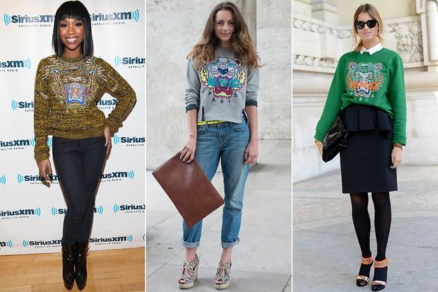 MODA - Kenzo sweatshirts - Brandy, Victoria Cassagnaud e Stephanie Gundelah (Foto: Getty Images)