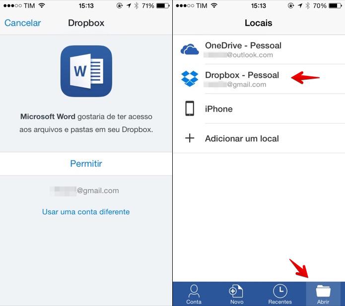 Acessando arquivos do Dropbox pelo aplicativo do Word (Foto: Reprodução/Helito Bijora)