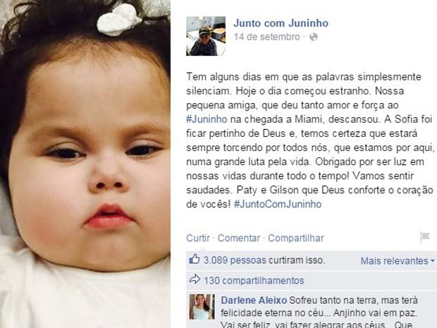 Sofia, Campinas, transplante, Juninho, Campos Gerais, Miami (Foto: Reprodução/ Facebook)