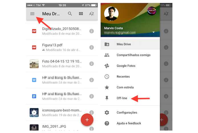 how to access google drive offline iphone