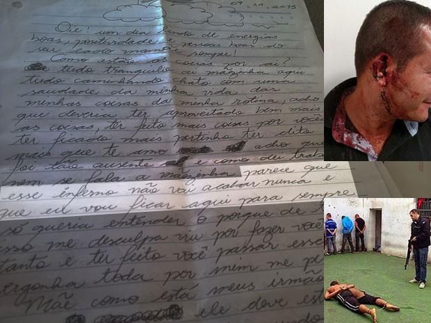 """Verônica escreveu em 9 de novembro de 2015 que vai """"ficar aqui para sempre"""", sobre o tempo em que está na prisão; ao lado, fotos da orelha que ela arrancou de um policial civil; em seguida, ela aparece despida e algemada; as duas fotos vazaram na internet (Foto: Divulgação/Montagem/Reprodução Facebook)"""