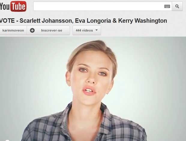 Scarlett Johansson fala em anúncio (Foto: Reprodução)