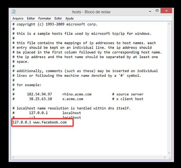 Arquivo Hosts do Windows pode ser usado para bloquear sites (Foto: Reprodução/Marvin Costa)