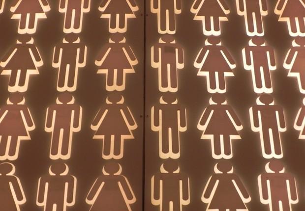 Decoraçao do espaço Capela, no evento Humanidade na Rio+20. Símbolo sugere igualdade de genero (Foto: Clarice Couto/ Época NEGÓCIOS)