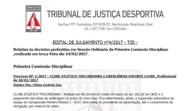 Tricordiano é punido pelo TJD-MG e pode ser suspendo do Campeonato Mineiro (Foto: Reprodução site Federação Mineira de Futebol)
