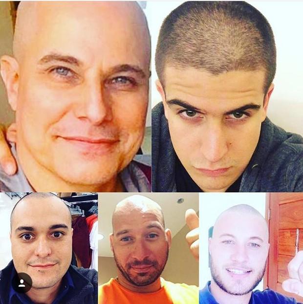 Enzo, filho de Edson Celulari, e mais três familiares rasparam a cabeça (Foto: Reprodução/Instagram)