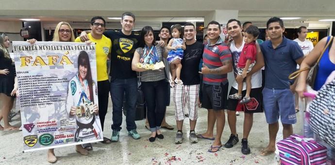Fafá Pereira retornou para Roraima na madrugada desta terça e foi recebida por familiares e amigos do esporte (Foto: Arquivo Pessoal)