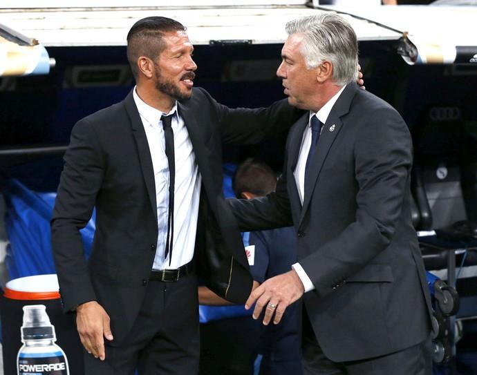 Diego Simeone e Carlo Ancelotti, Real Madrid x Atlético de Madrid (Foto: Agência EFE)