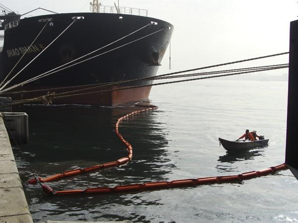 Cetesb aplicou multa após óleo diesel ter vazado no estuário de Santos, SP (Foto: Reprodução / Cetesb)