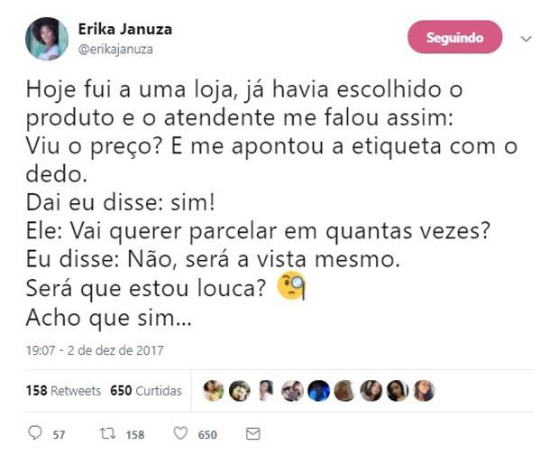 Erika Januza relata discriminação racial na web (Foto: Reprodução/Twitter)