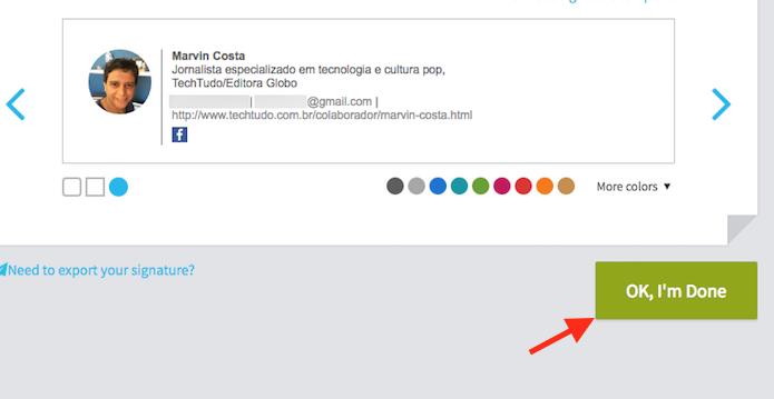Opção para definir um cartão de apresentação com a extensão para Chrome WiseStamp (Foto: Reprodução/Marvin Costa)