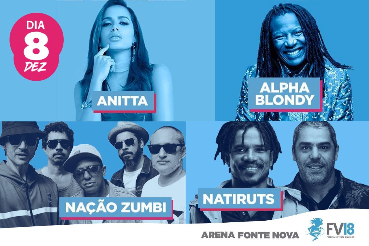 Anitta, Natiruts, Nao Zumbi e Alpha Blondy no primeiro dia de Festival de Vero de Salvador 2018 (Foto: Divulgao/ Multishow)