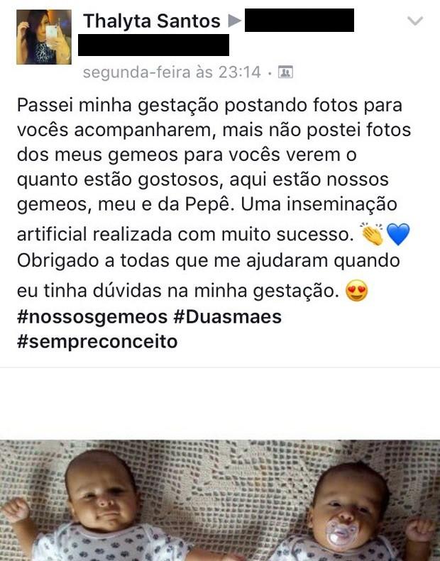 Thalyta Santos faz post sobre os filhos, os gêmeos Enzo Fabiano e João Gael (Foto: Reprodução)