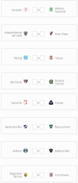 Se a temporada acabasse hoje, as oitavas de final da Libertadores seriam assim (Foto: GloboEsporte.com)