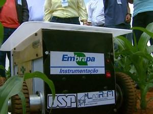 Robô criado pela USP e a Embrapa analisa solo das plantações em São Carlos (Foto: Ely Venâncio/ EPTV)