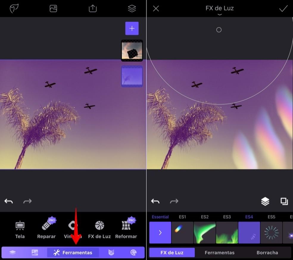 Adicionando efeitos à foto (Foto: Reprodução/Helito Bijora)