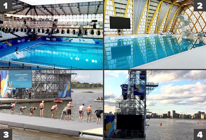 Montagem locais de competição do Mundial de esportes aquáticos de Kazan (Foto: Arte esporte)