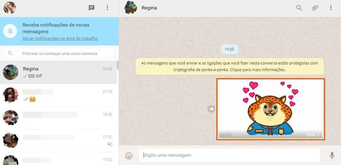 O GIF será enviado para seu amigo ou grupo no WhatsApp Web (Foto: Reprodução/Barbara Mannara)