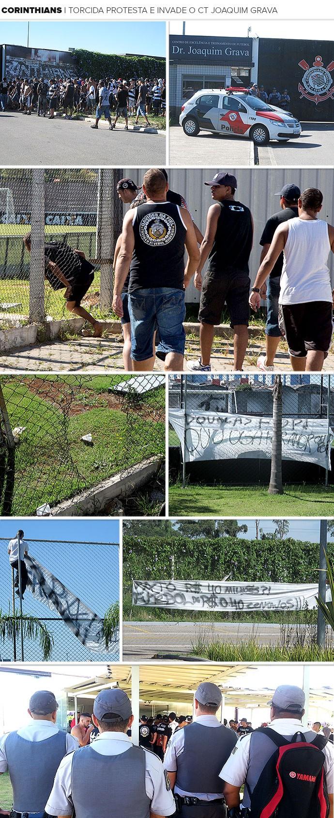 Mosaico torcida Corinthians protesto invasão CT (Foto: Editoria de Arte)