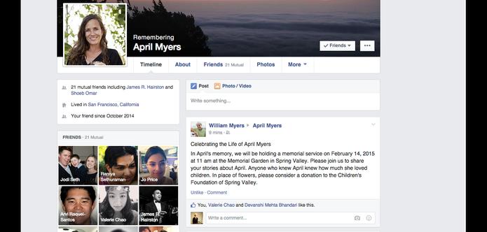 Post Memorial de amigo é destacado no topo do Facebook de usuário que já morreu (Foto: Divulgação/Facebook)