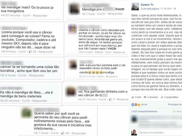 Lorena postou ofensas recebidas pela internet nas redes sociais (Foto: Reprodução/Facebook)