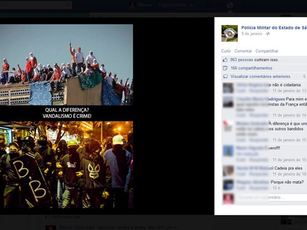 Montagem feita pela PM e que compara black blocks com facção criminosa foi publicada no Facebook na sexta-feira (9) (Foto: Reprodução/Facebook)