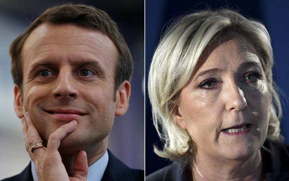 Emmanuel Macron e Marine Le Pen disputam eleição presidencial na França (Foto: Thomas Samson/Pool/AFP; Lionel Bonaventure/AFP)