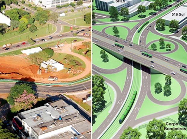 Obras do VLT na Asa Sul em Brasília (esq.) e previsão de projeto pronto (dir.) (Foto: GDF/Divulgação)