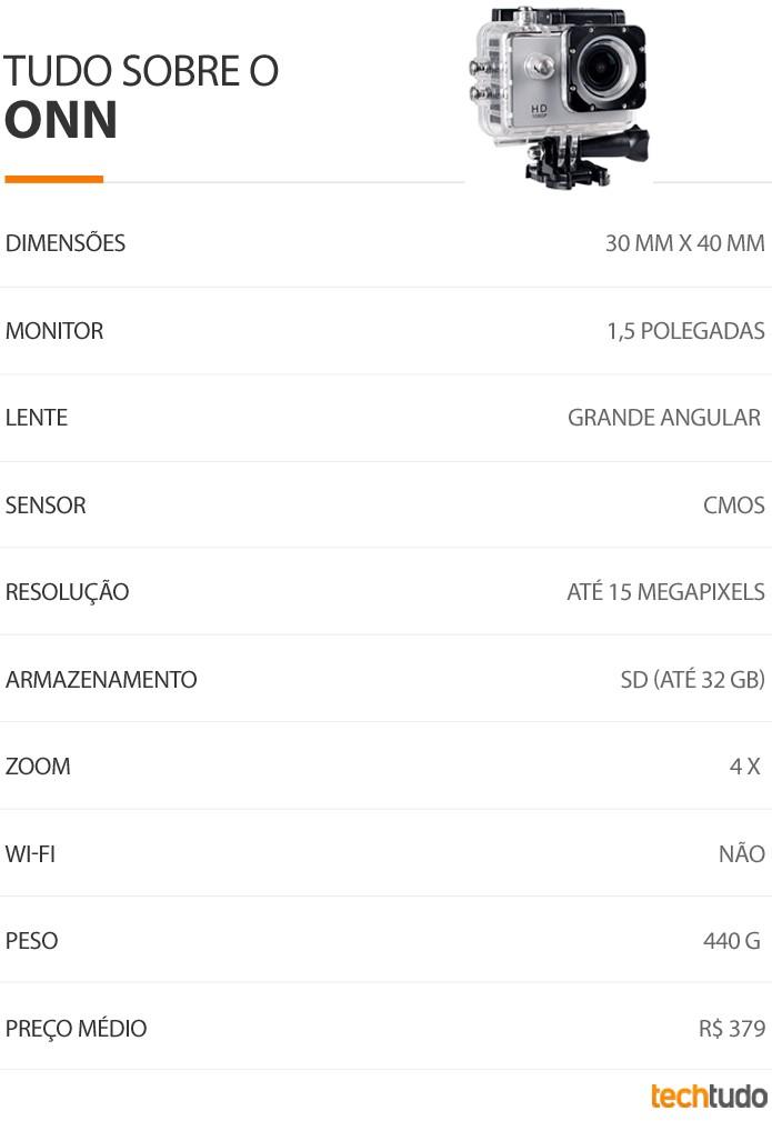 Tabela de especificações da câmera de ação Onn, do Walmart (Foto: Divulgação / Walmart)