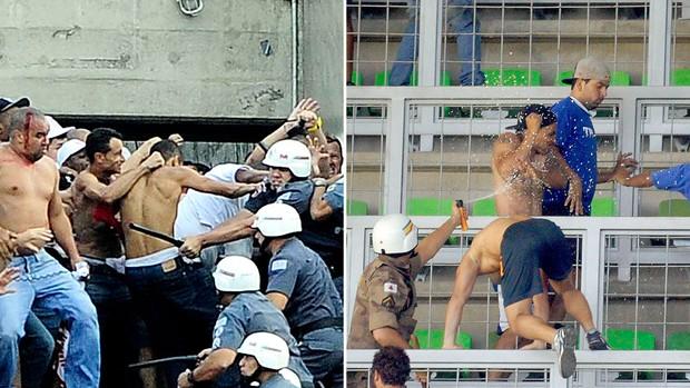 montagem confusão torcida São Paulo torcida Cruzeiro (Foto: Editoria de Arte)