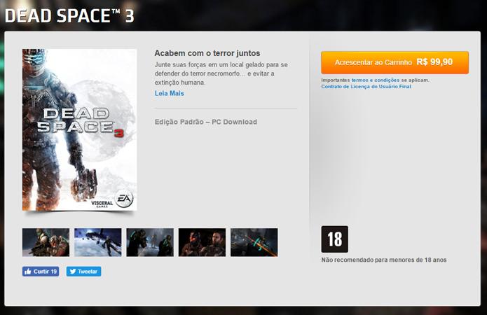 Página de Dead Space 3 no Origin (Foto: Reprodução/André Mello)