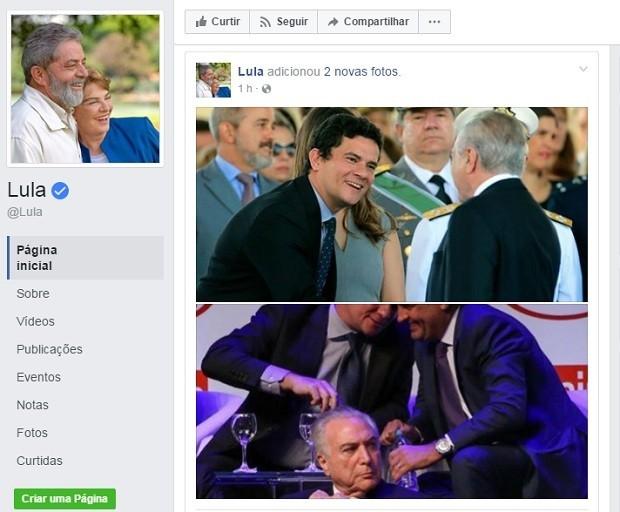 Lula publicou fotos do juiz Sergio Moro com Aécio Neves e com o presidente Michel Temer (Foto: Reprodução/Facebook)