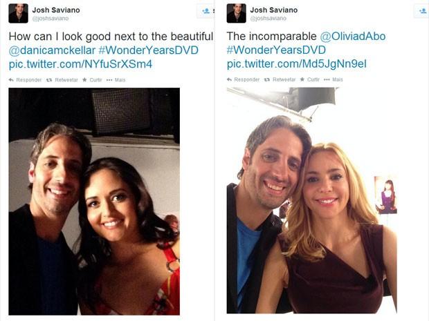 Josh Saviano (Paul Pfeiffer) posa com Danica McKellar (Winnie Cooper) e Olivia d'Abo (Karen Arnold) no reencontro do elenco de 'Anos incríveis' (Foto: Reprodução/Twitter/Josh Saviano)