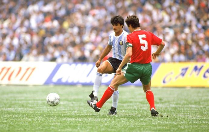 Borghi no jogo Argentina e Bulgária na Copa do Mundo em 1986 (Foto: Getty Images)