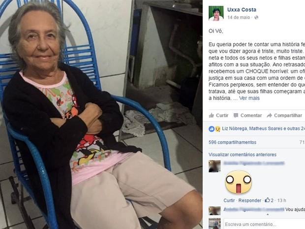Postagem de neta da idosa gerou comoção nas redes sociais (Foto: Reprodução/ Facebook)
