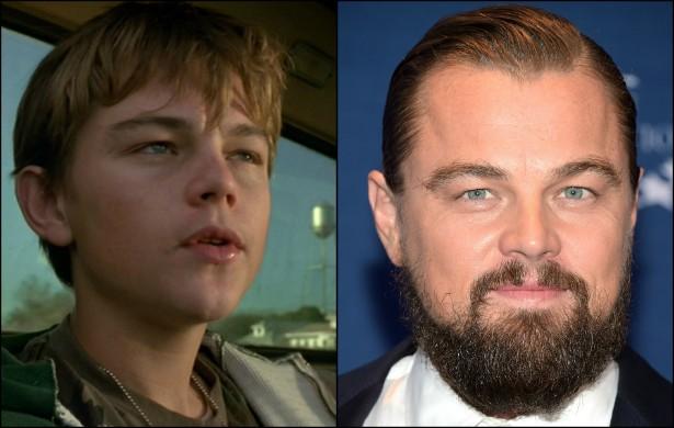 """Ok, ok, Leonardo DiCaprio já tinha 18 anos quando fez 'Gilbert Grape: Aprendiz de Sonhador' (1993), mas ele ainda tinha """"cara de moleque"""". O tempo trouxe mais charme (e barba!) ao protagonista de 'O Lobo de Wall Street' (2013). (Foto: Reprodução e Getty Images)"""