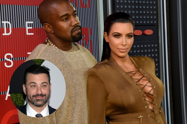 Jimmy Kimmel, Kanye West e Kim Kardashian (Foto: Getty Images)