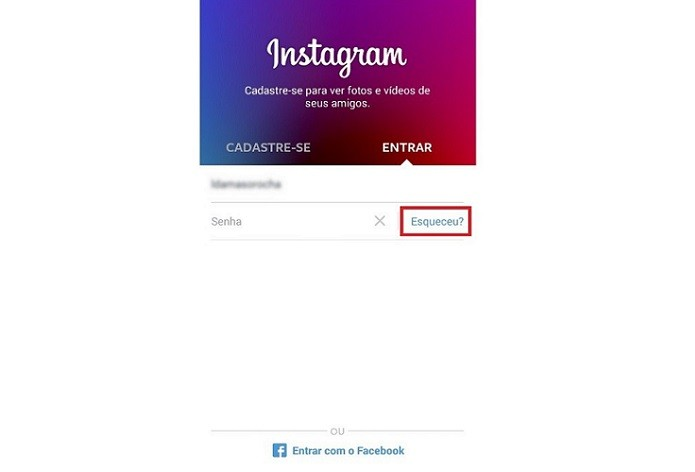Recuperando a senha do Instagram (Foto: Reprodução/Lívia Dâmaso)