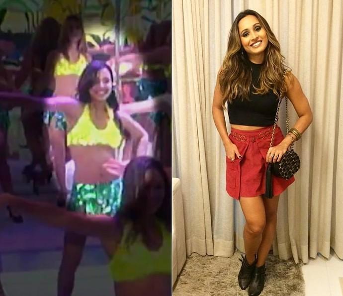 Thaíssa foi bailarina do 'Domingão' em 2002 (Foto: TV Globo/Arquivo Pessoal)