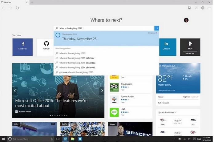 Presente apenas no Windows 10, Microsoft Edge substitui IE (Foto: Divulgação/Microsoft)