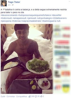 'Lei da Dieta': Trator precisa perder 4 kg em três dias para lutar no UFC (Foto: Reprodução/Facebook)