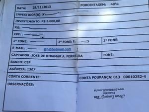Modelo de contrato da Sudbook (Foto: Divulgação/Ana Cristina)