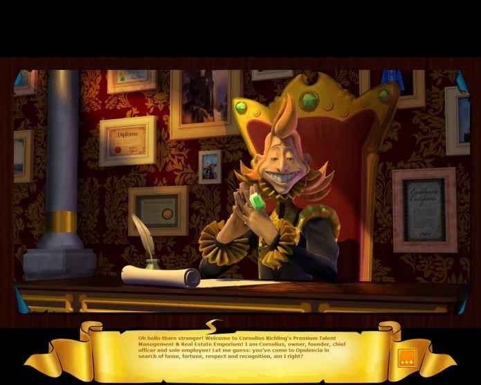Com várias animações, textos e falas bem engraçados, grande parte da irreverência do game é protagonizada pelo ambicioso Cornelius (Foto: Reprodução/Daniel Ribeiro)