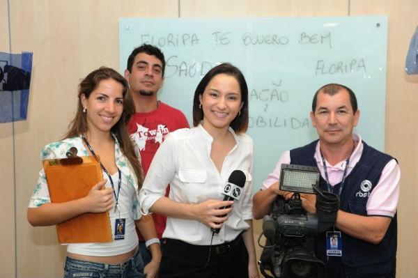 A equipe de cobertura das eleições: Sarah Castro, Eloy Silva, Sonia Campos e Clauzir Silva (Foto: Julio Cavalheiro/ Agência RBS)